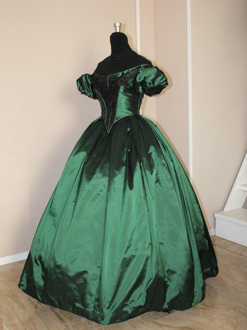 Victorian Ball Gown In Green Taffeta With Lace Application And Beading 1860 Ball Gown In 2021 Victorian Gown Victorian Ball Gowns Victorian Ball Gown