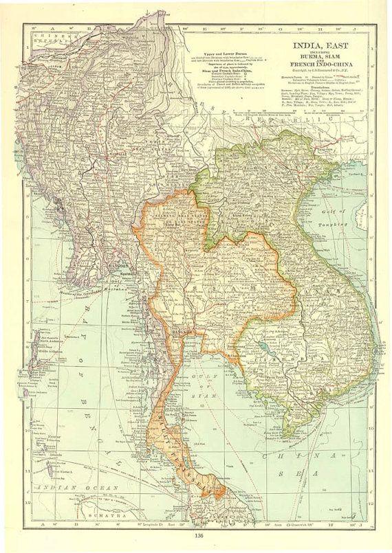 Large vintage map east india burma myanmar siam thailand french large vintage map east india burma myanmar siam thailand french indochina vietnam laos cambodia 1930s gumiabroncs Images