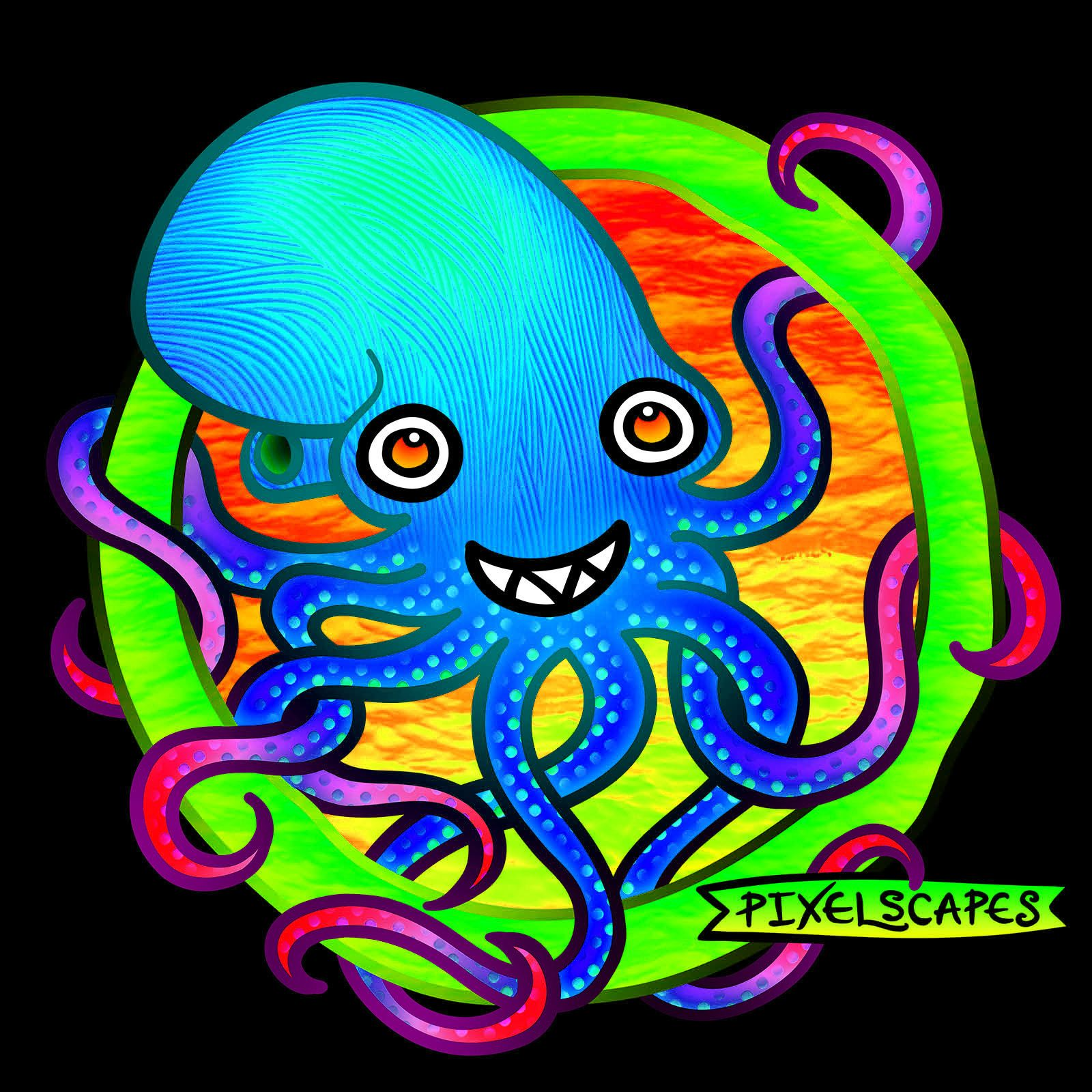 My Color Variant Octopus Art For Today Appreciate The Comments And Shares See The Original Here Http Www Pixelscapes Com Octop Octopus Art Art Monster Art