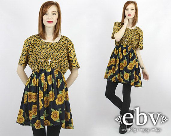 Vintage 90s Grunge Mini Sunflower Dress 90s Grunge Dress ...