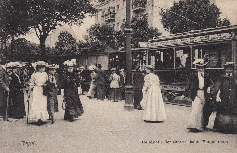 Haltestelle der Strassenbahn 31, Hauptstrasse (Alt-Tegel), 1910