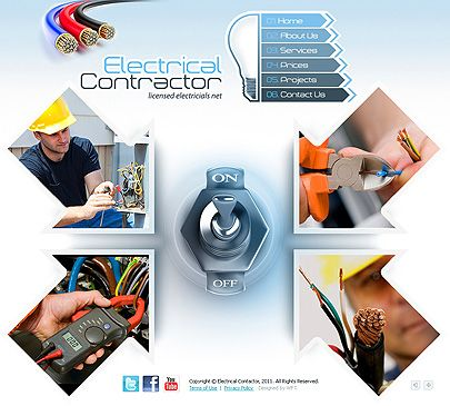 Electrical Contractor easy flash website template from web ...