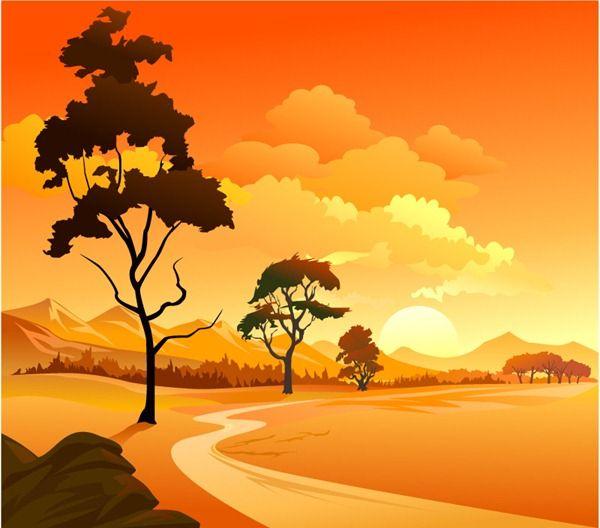 Sunset Scenery Vector Material Landscape Artwork Landscape Illustration Photoshop World