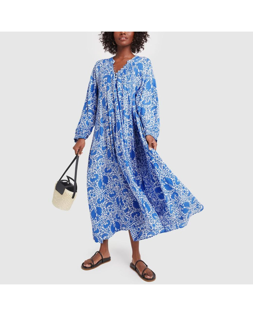 Natalie Martin Silk Fiore Maxi Dress In Blue Lyst Floral Wrap Maxi Dress Short Dress White Stevie Dress [ 1250 x 1000 Pixel ]