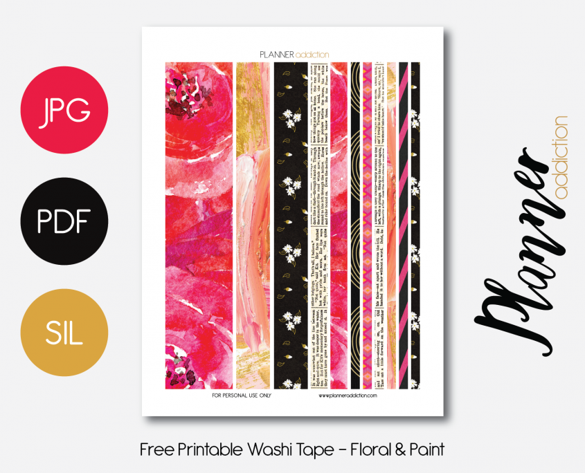graphic relating to Free Printable Washi Tape titled Totally free Printable Washi Tape - Floral Paint No cost Planner