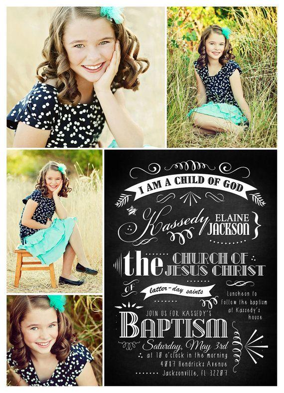 LDS Baptism Chalkboard Art Announcement by redapplePRINTS on Etsy ...