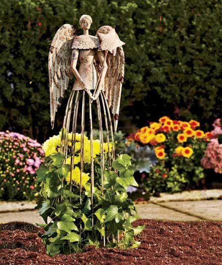 Antiqued Metal Garden Angel Garden Angels Angel Garden Statues Metal Yard Art