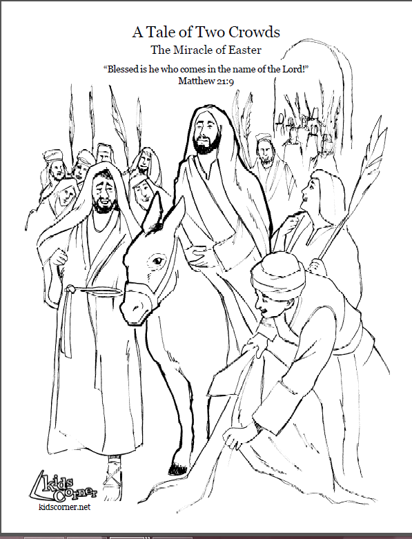 Palm Sunday story. Coloring page, script and Bible story ...