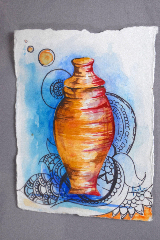 Alabaster Jar Original Watercolor Painting Woman Anoints Jesus