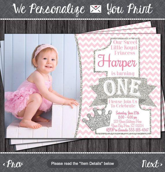 Princess First Birthday Invitation Pink and Silver 1st Birthday – First Birthday Princess Invitations