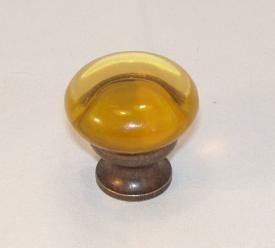 Lew's Hardware Mushroom Glass Cabinet Knob Transparent Amber - Oil Rubbed Bronze