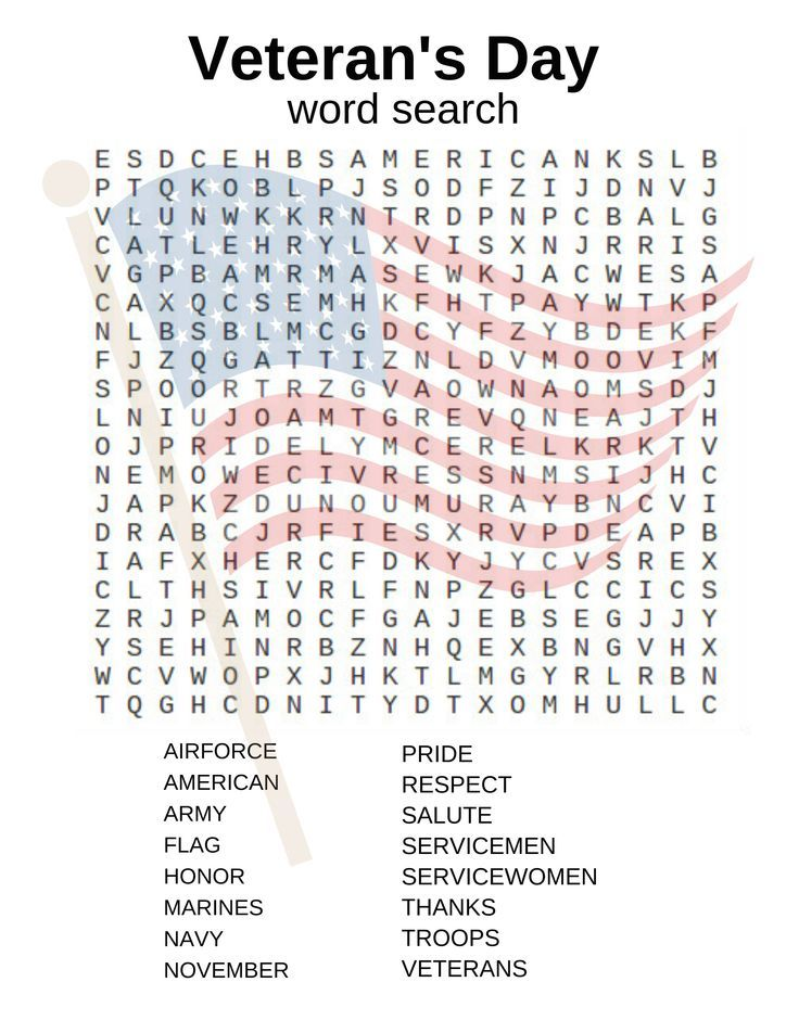 Veterans Day word search and other activities – Veterans Day Worksheets