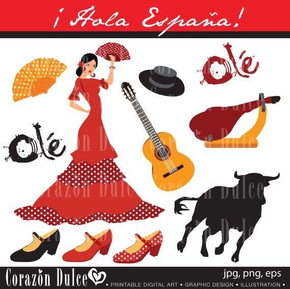 Spain 1 Digital Clip Art Set Personal And Commercial Use Spanish Guitar Flamenco Digital Clip Art Set Digital Clip Art Art Set