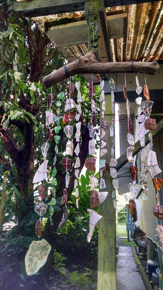 Hawaiian sea tumbled glass and driftwood wind chimes, #61 in series by Kalikascardsandgifts on Etsy