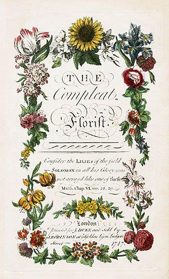 J Duque Compleat Florista Botanicals 1747 Victorian FlowersVintage