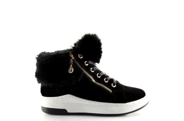 Ocieplane Buty Sportowe Czarne 16 529 Black Sneakers Wedge Sneaker High Top Sneakers