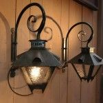 Pair of Vintage French Iron and Glass Lantern Sconces