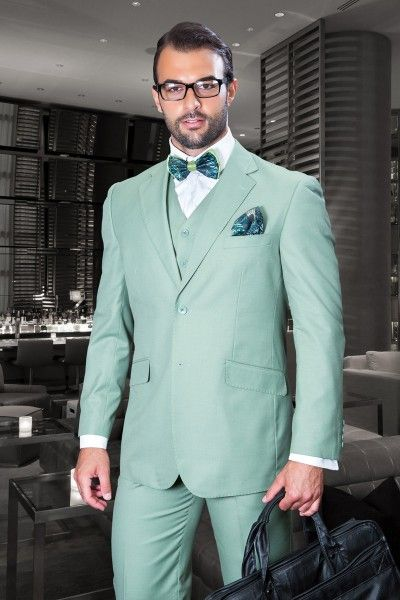 Men S 3 Pc Fashion Suit By Statement Apple Green Green Suit Men Suit Stores Wedding Suits Men