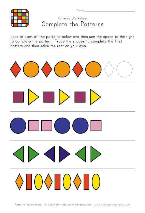 complete the patterns | Pattern Worksheets | Pinterest