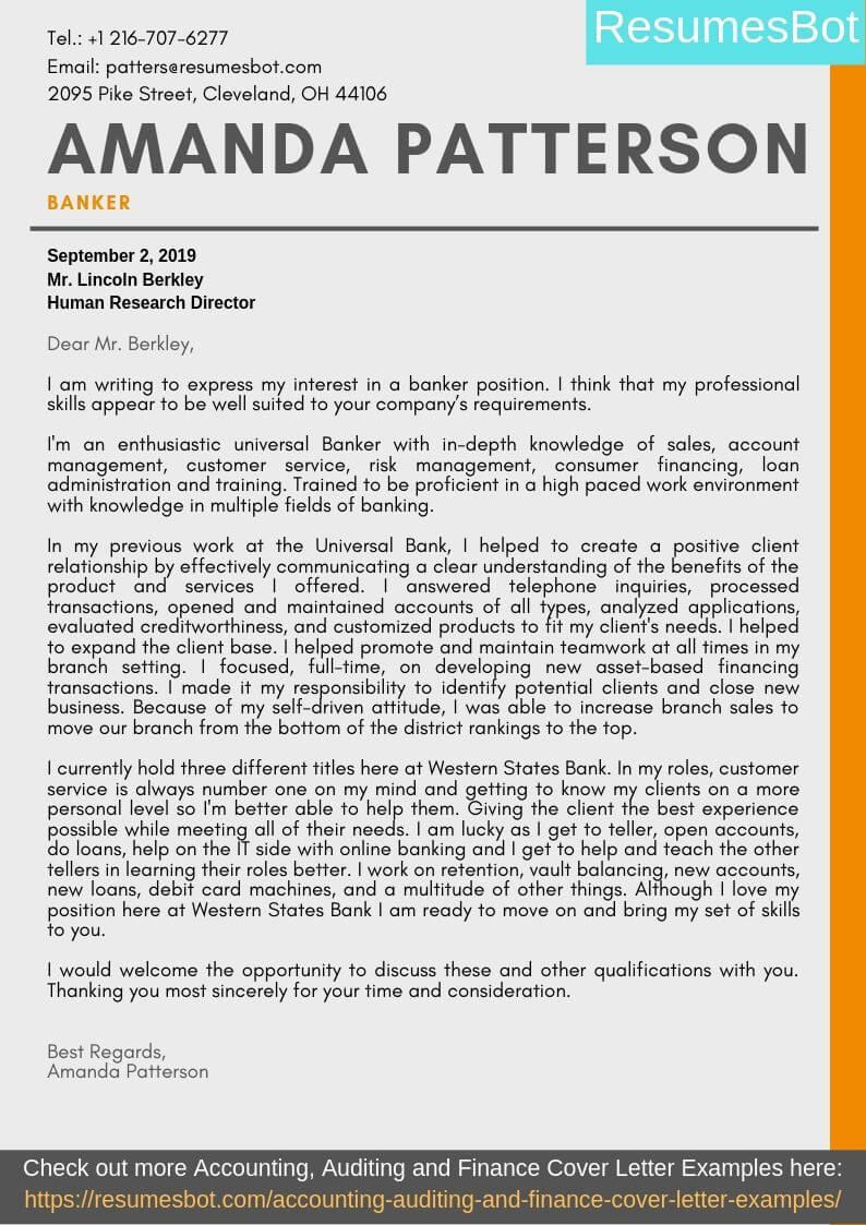 Banker Cover Letter Samples Templates Pdf Word 2021 Banker Cover Letters Rb Cover Letter Example Letter Example Writing A Cover Letter