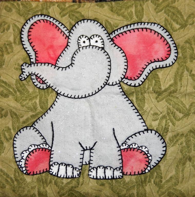 Elephant African Applique Quilt Block Baby Quilt