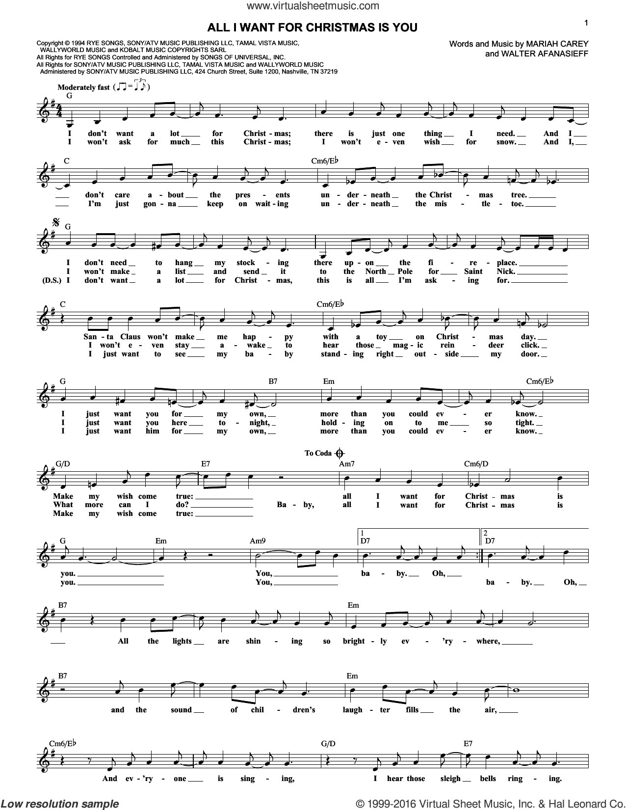 Carey All I Want For Christmas Is You sheet music (fake