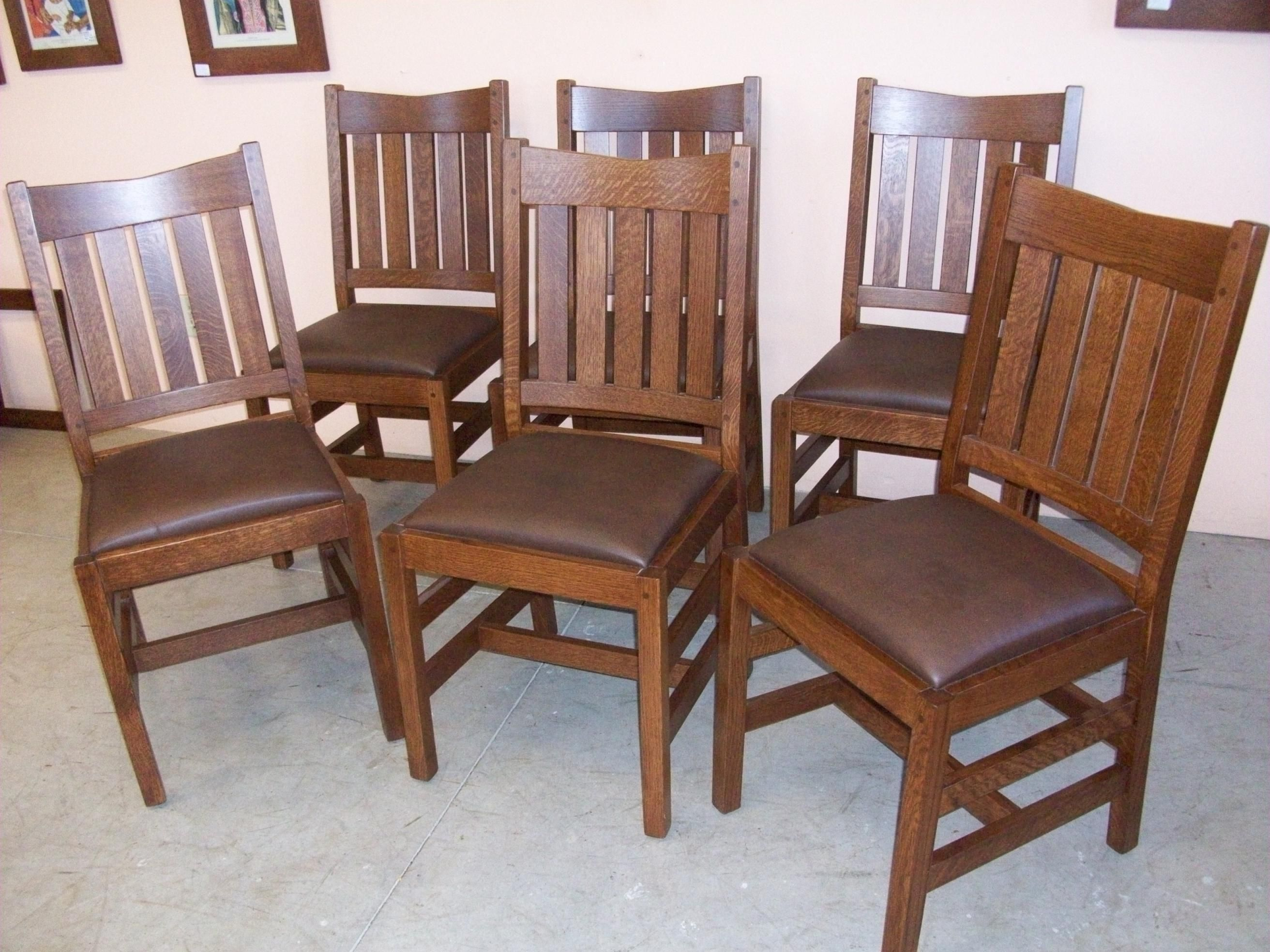 Set of 6 new mission oak dining chairs home living for Wooden dining room chairs