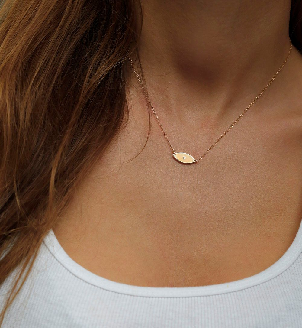 Evil Eye Necklace, Diamond Evil Eye Necklace, Tiny Diamond Necklace, Gold Evil Eye, Hamsa hand by MinimalVS on Etsy https://www.etsy.com/listing/166473620/evil-eye-necklace-diamond-evil-eye