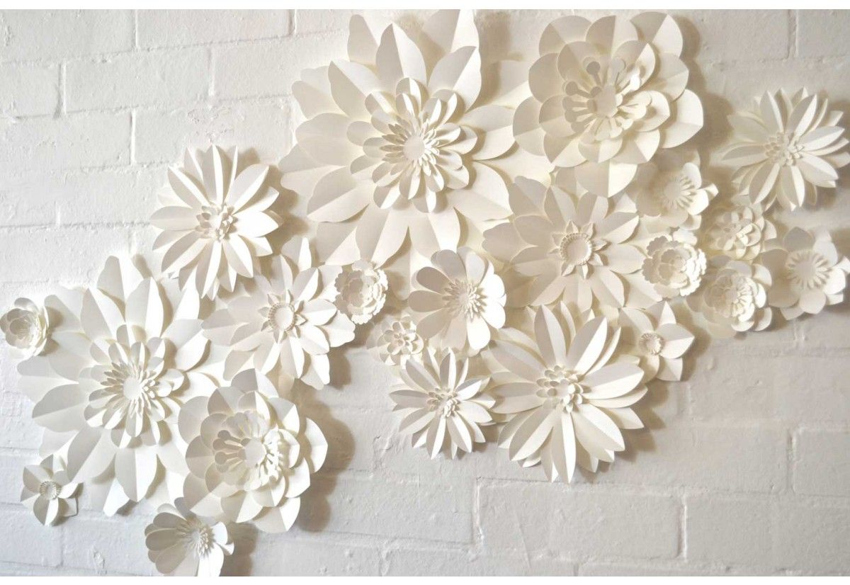 Set of handmade paper flowers wall decorations decorate