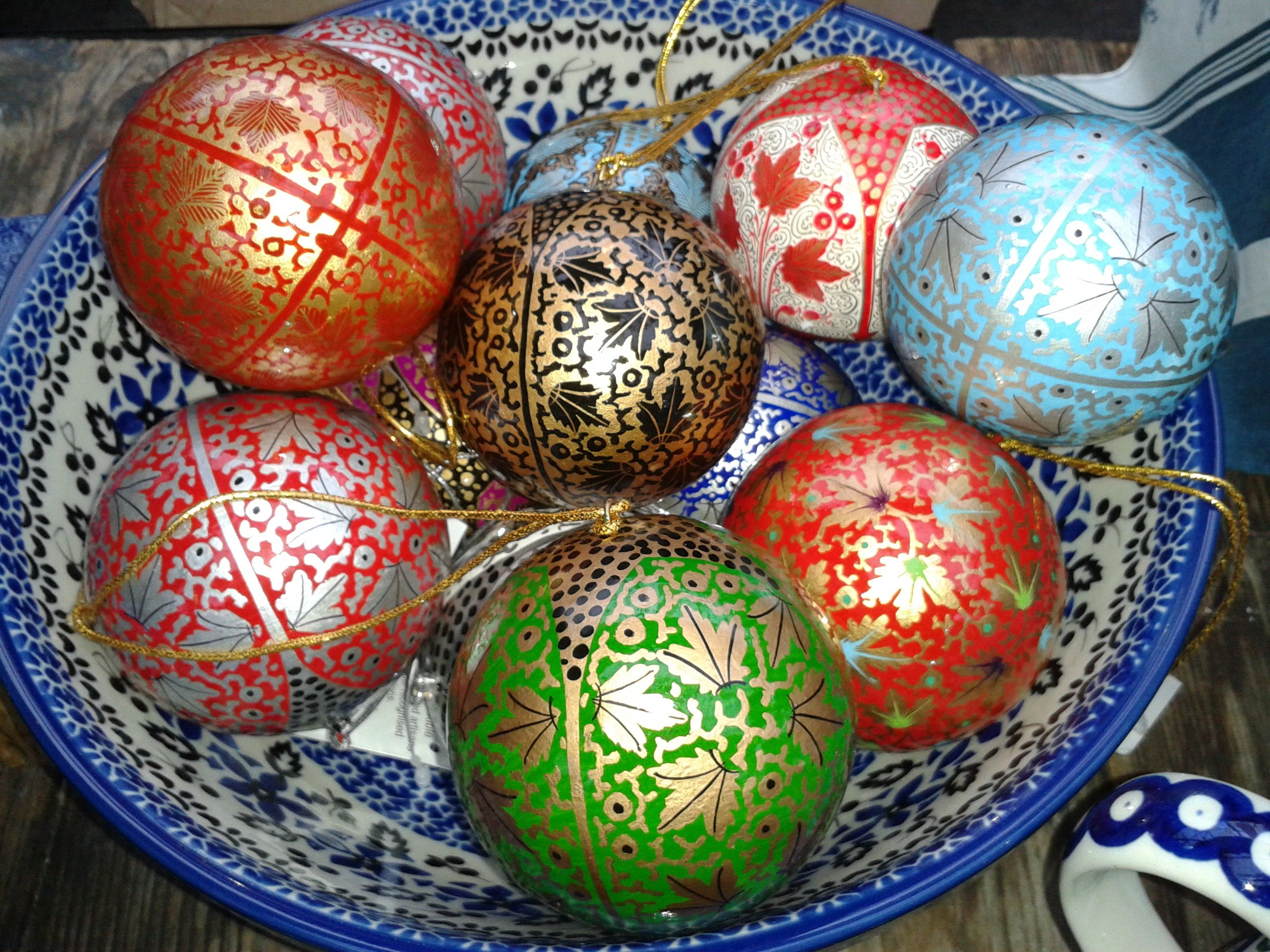 Fairtrade kashmiri baubles christmas decorations and kitchen