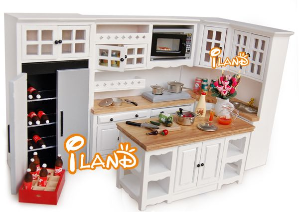 Dollhouse Kitchen Cabinet W/Stove Basin Island Ice Box Microwave Roaster