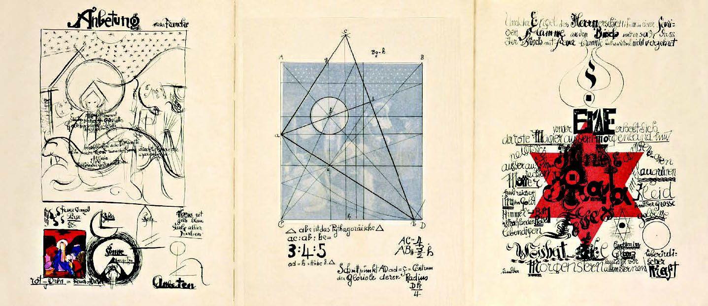 The School of Bauhaus/ Johannes Itten, Analysis of Meister Francke's Adoration of the Magi (c. 1424). Foldout from Bruno Adler, ed. Utopia: Dokumente der Wirklichkeit (Weimar: Utopia, 1921)