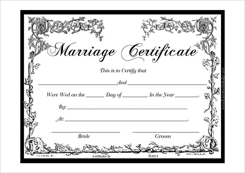 Marriage Certificate Template PDF | Certificate templates ...