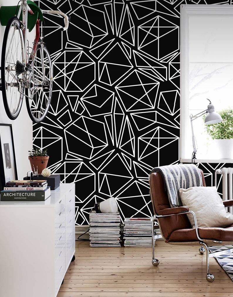 Black Geometric Mural Peel Removable Stick Wall Wallpaper White Wood Art Diy Wood Art Easy Woo In 2020 Geometric Removable Wallpaper Black Walls Home Decor