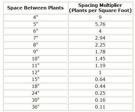Calculator Plants Per Square Foot Plant Spacing Square Foot Gardening Layout Plants