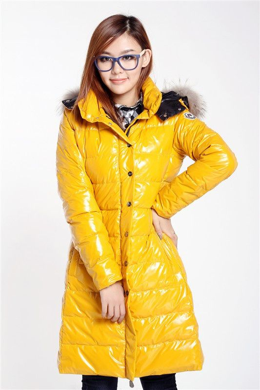 9e7e50bb3d4b6c Shiny yellow Yellow Coat, Puffy Jacket, Nylons, Down Coat, Moncler, Fur