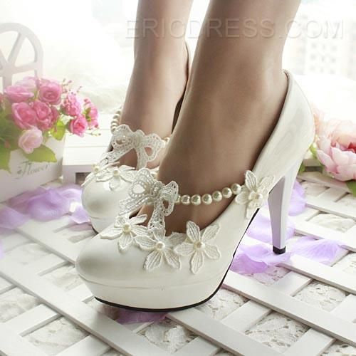 Comfortable Low Heel Lace White Wedding Shoes 2