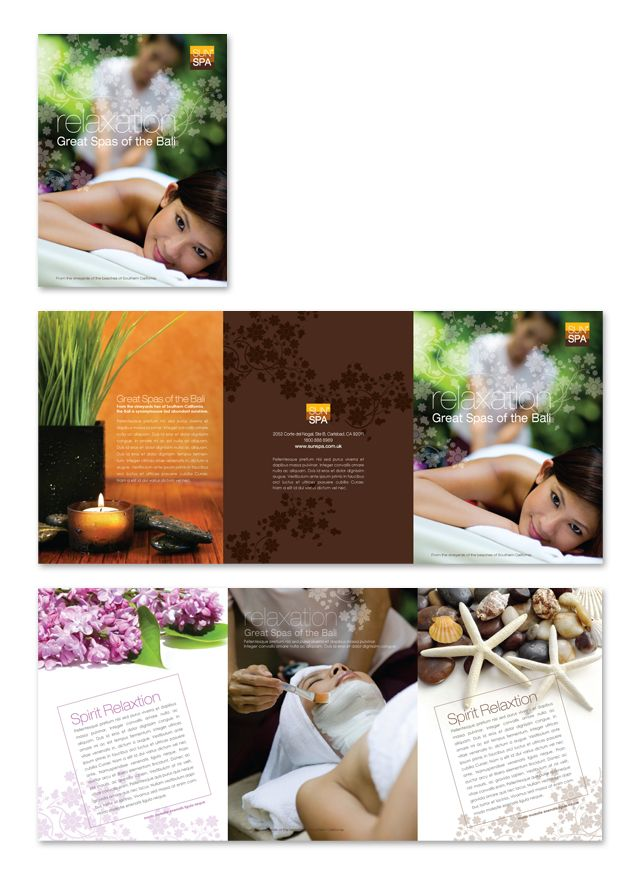 Beauty Spa Salon Tri Fold Brochure Template Creative Brochure - spa brochure