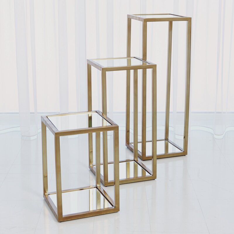 Escher Square Pedestal Plant Stand Glass Top Side Table How To Clean Mirrors Plant Stand