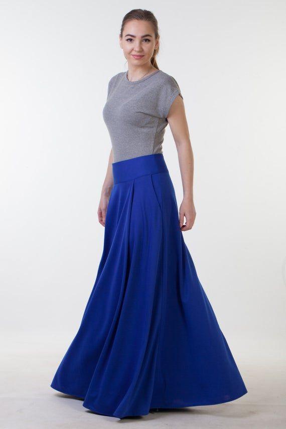 Jupe longue bleue avec poches Bureau jupe automne longue jupe longue hiver jupe Jersey jupe Maxi avec poches jupe de longueur de plancher