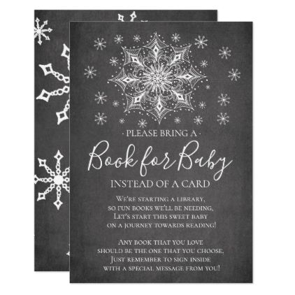 Snowflake Winter Baby Shower Book for Baby Invitat