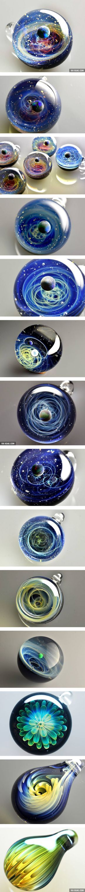 Extraordinary Space Glass With Solar Systems And Flowers
