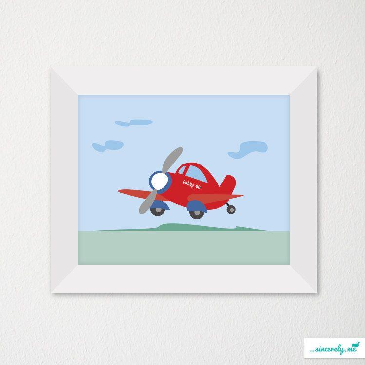 Custom Modern Children's Room Art Print / Nursery Decor / Newborn / Flying. $21.00, via Etsy.