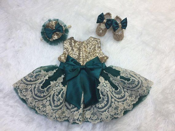 Gold and emerald green baby dress -   15 dress Green and gold ideas