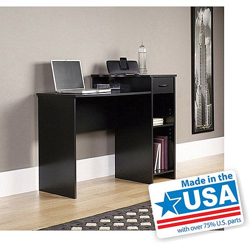 Mainstays Student Desk With Easy Glide Drawer Blackwood Finish Walmart Com Black Desk Student Desks Desk