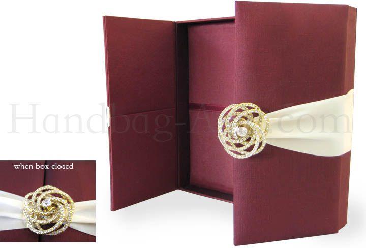 Brown Silk Wedding Invitation Box With Pocket Holder Large Luxury