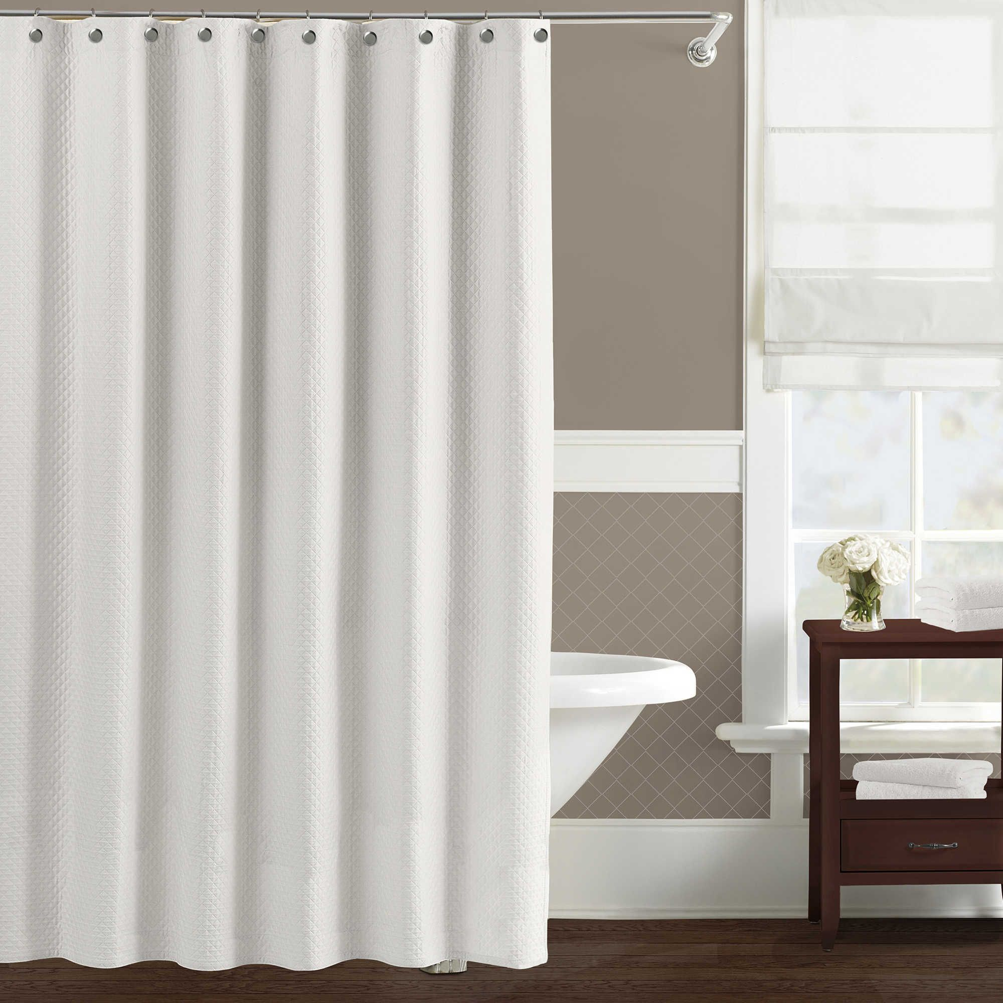 Lamont Home Diamond Matelasse 72 Inch X 96 Inch Extra Long Shower Curtain In White Stall Shower Curtain Luxury Shower Curtain White Shower Curtain