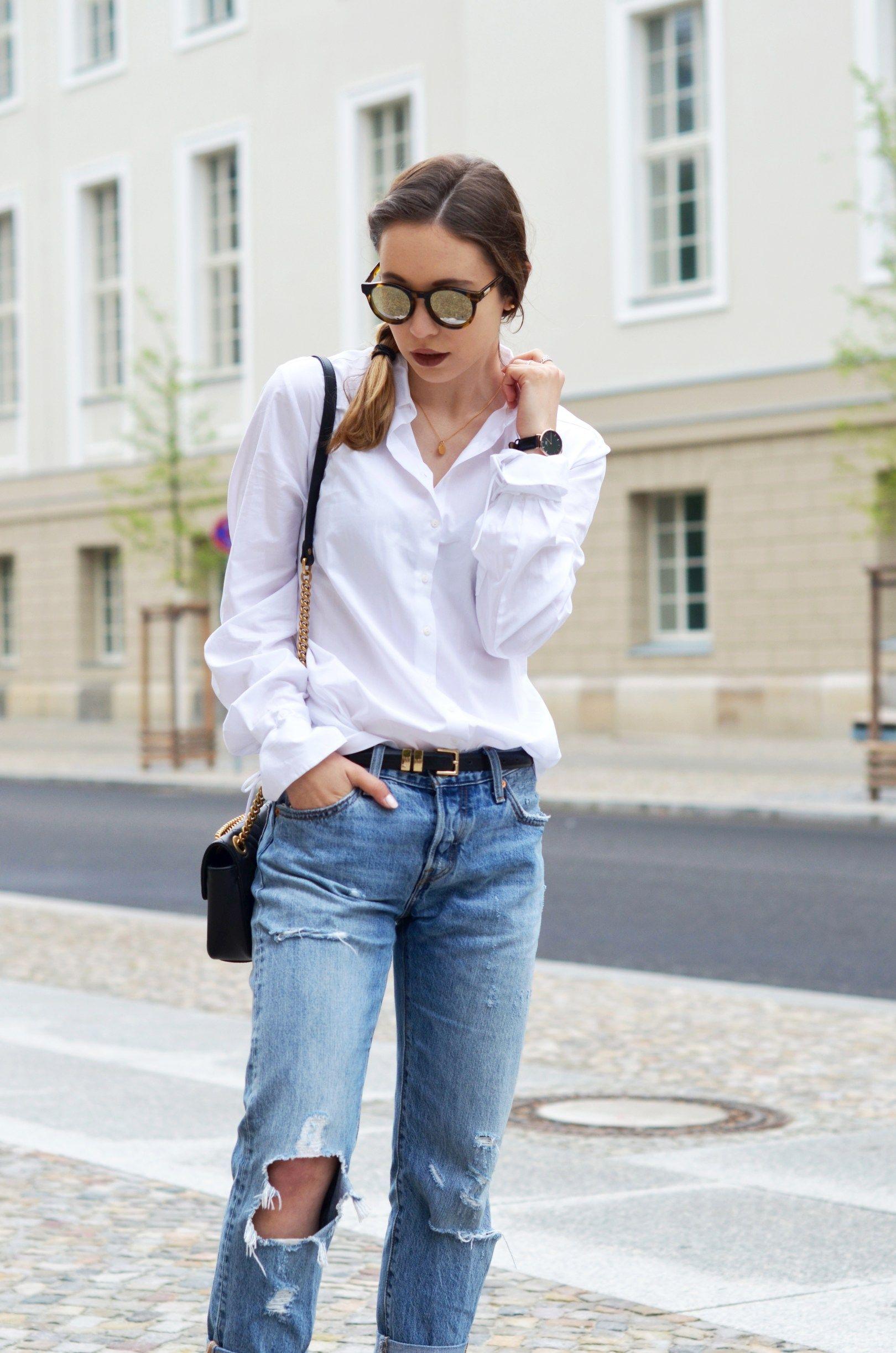 basics kombinieren die klassische wei e bluse mit einer boyfriend jeans fashion pinterest. Black Bedroom Furniture Sets. Home Design Ideas