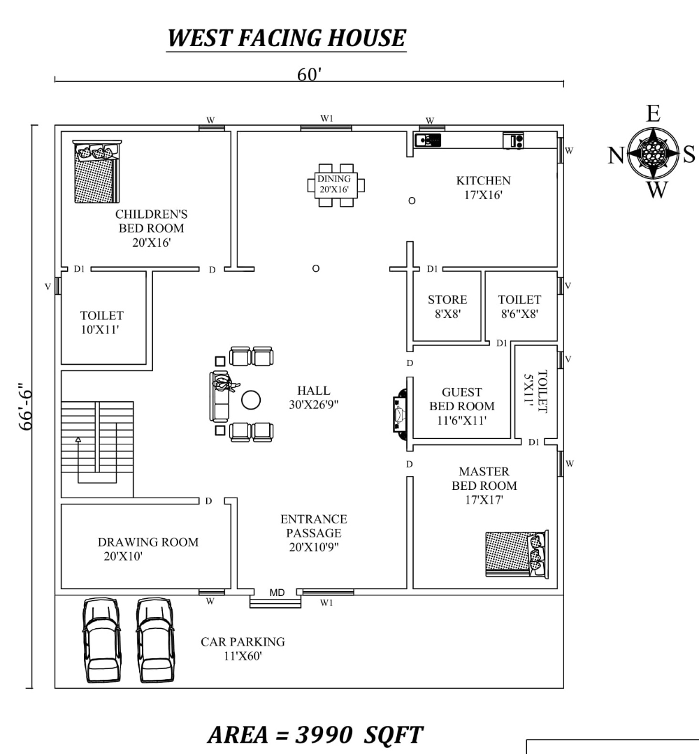 60 X66 6 Beautiful 3bhk West Facing House Plan As Per Vastu Shastra Autocad Dwg And Pdf File Details Cadbull West Facing House How To Plan Autocad