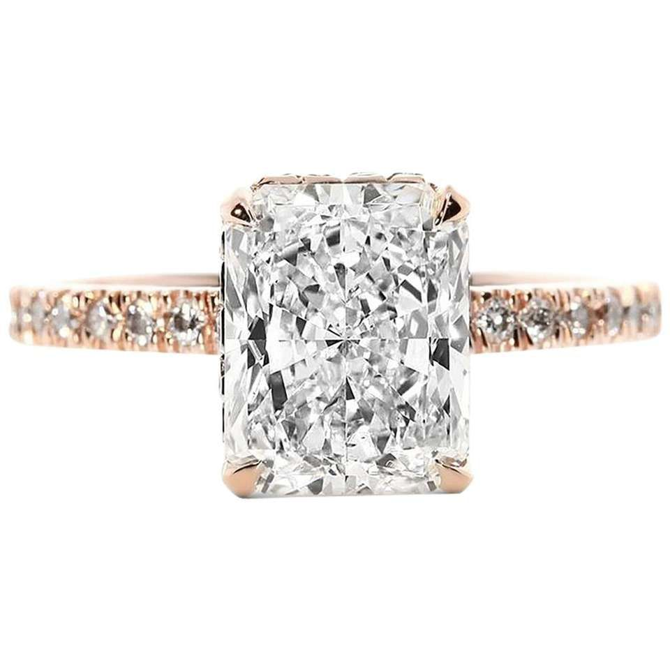 Gia certified carat radiant cut diamond rose gold engagement